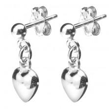 Bedugós 925 ezüst fülbevaló - függő domború szívecske