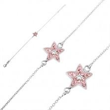 925 ezüst karlánc - rózsaszín cirkonköves csillag