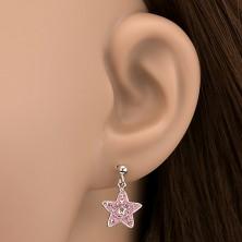 Fülbevaló 925 ezüstből - rózsaszín kövekkel kirakott csillag függő