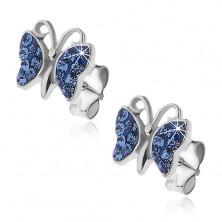 925 ezüst fülbevaló - pillangó kék szárnyakkal