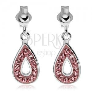 925 ezüst fülbevaló - függő könnycsepp rózsaszín kövekkel