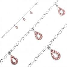 925 ezüst karkötő - három rózsaszín könnycsepp függővel