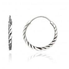925 fülbevaló ezüstből - átlós vésetű karika, 15 mm
