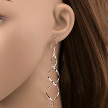 925 ezüst fülbevaló - fényes kettős spirál