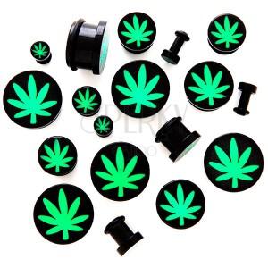 Fültágító dugó akrilból - marihuána motívum
