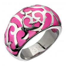 Gyűrű acélból - rózsaszín szívecskés díszítés