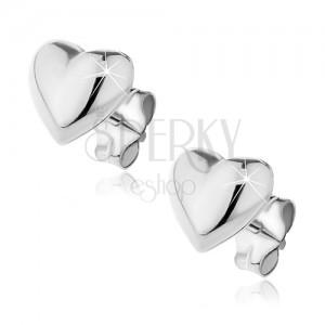 Bedugós fülbevaló 925 ezüstből - domború sima szívecske