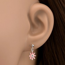 Bedugós ezüst fülbevaló - rózsaszín margaréta cirkonkővel