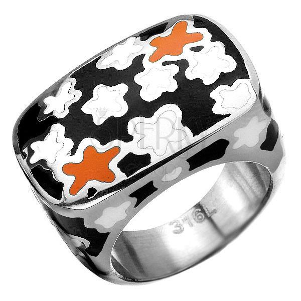 Hatalmas acél pecsétgyűrű virágmintával