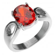 316L acél gyűrű - kiemelkedő piros kő, könnycseppek