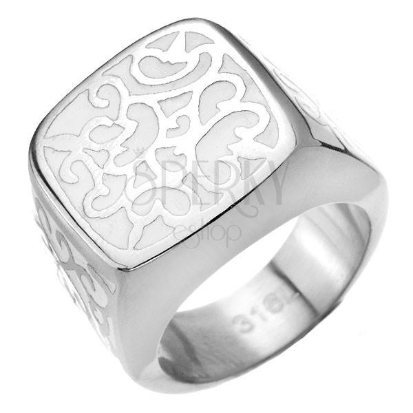 Pecsétgyűrű acélból - fehér alap, acél indák