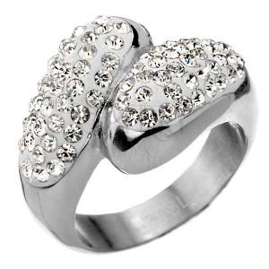 Cirkonkövekkel gazdagon díszített acélgyűrű