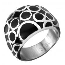 Karikákkal díszített fekete orvosi acél gyűrű