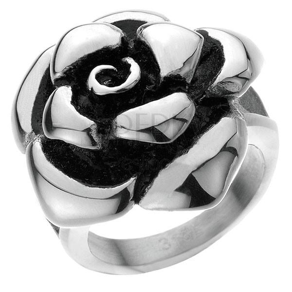 Maszív acélgyűrű - nyíló rózsa