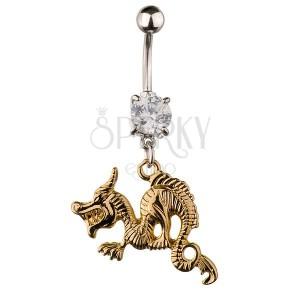 Acél köldök piercing - dühöngő arany színű sárkány