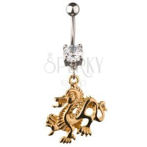 Köldökékszer - aranyszínű kínai sárkány