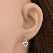 Bedugós fülbevaló ezüstből - golyócskára akasztott szívkeret