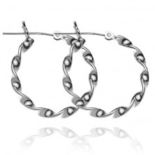 Sterling ezüst fülbevaló - sima tekert karika, 24 mm