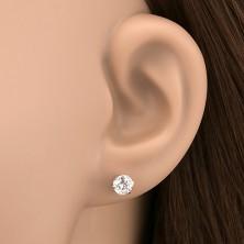 925 ezüst fülbevaló - stekkerek átlátszó cirkóniával, 5 mm