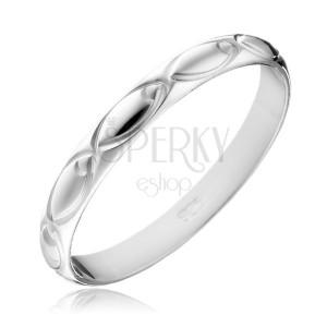 Ezüst karikagyűrű - gravírozott oválisok a felületen