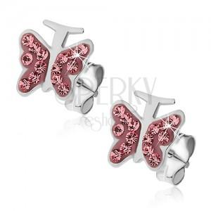 Ezüst fülbevaló - rózsaszín pillangó cirkóniákkal