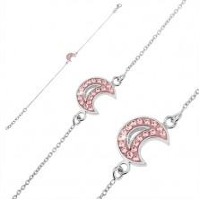 925 ezüst karlánc - félhold rózsaszín kövekkel