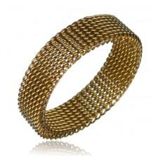 Gyűrű acélból - láncszemes szerkezet, aranyszínű, 6 mm