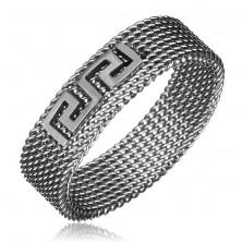 Hálós gyűrű acélból - görög kulcs, ezüstszínű, 6 mm