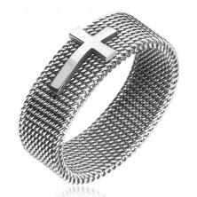 Ezüst színű nemesacél gyűrű, hálós szerkezet és kereszt, 8 mm