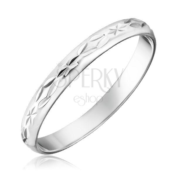 925 ezüst gyűrű - vésett sugarak és rombuszok