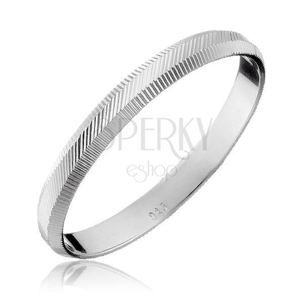 925 ezüst gyűrű - függőleges és átlós gravírozás, 2 mm