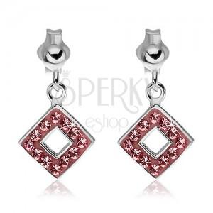 925 ezüst fülbevaló - rózsaszín cirkonköves négyzetek