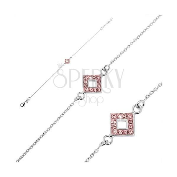 Karkötő ezüstből -  rózsaszínű rombusszal díszített lánc és cirkóniák
