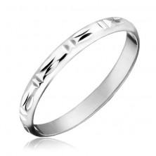 Ezüst karikagyűrű - dupla függőleges és vízszintes bevágások