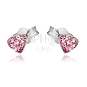 925 ezüst fülbevaló - rózsaszín szív cirkóniákkal