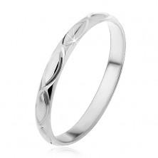 Ezüst karikagyűrű - gravírozott búzaszem körvonalak