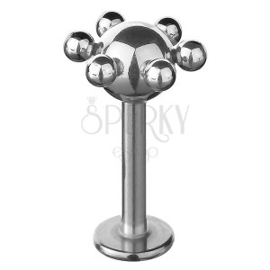 Áll és ajak piercing - kis gömbökkel körülvett golyócska
