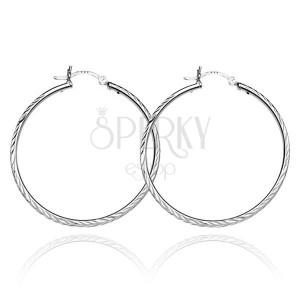 925 ezüst fülbevaló - karika két sor kalászmintával, 25 mm