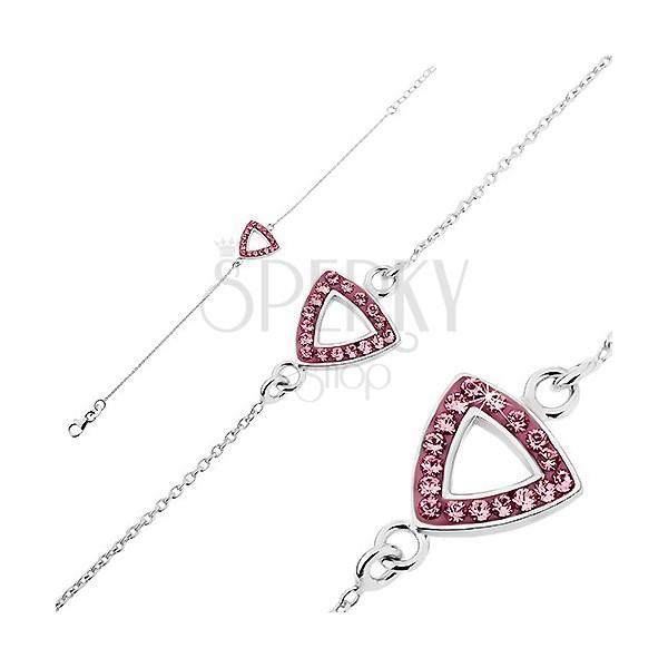 Karlánc ezüstből - kivágott háromszög cirkonkövekkel