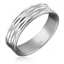 Sterling ezüst gyűrű - három sor magocska alakú véset