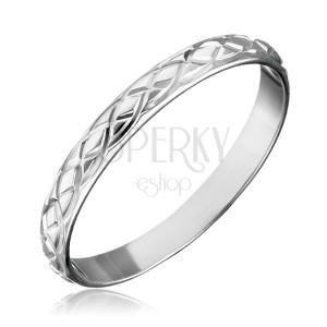 Gyűrű 925 ezüstből - összefont vésett könnycseppek