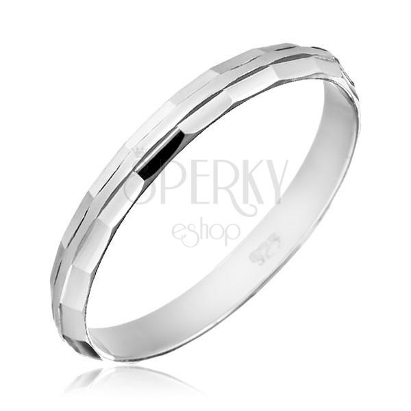 925 ezüst karikagyűrű - fényes letört szélek