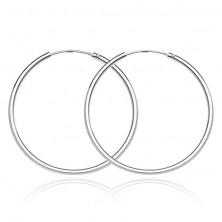 925 ezüst fülbevaló - vékony, sima karika, 30 mm