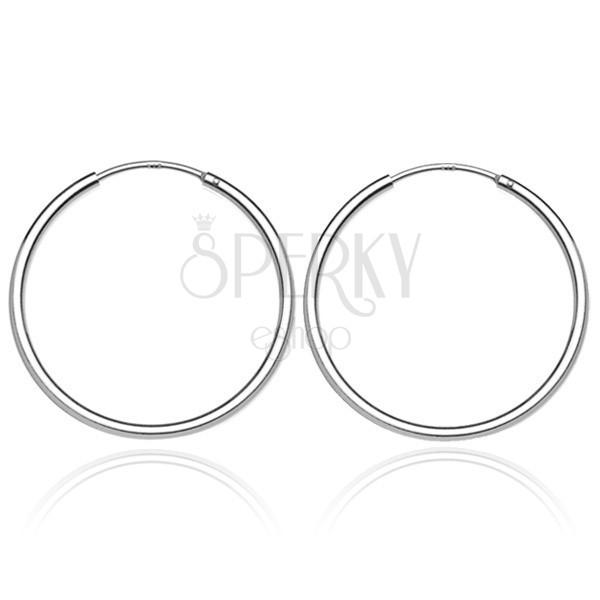 Karika fülbevaló ezüstből - sima és fényes, 25 mm