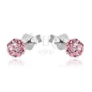 Bedugós ezüst fülbevaló - rózsaszín cirkongömb, 4 mm