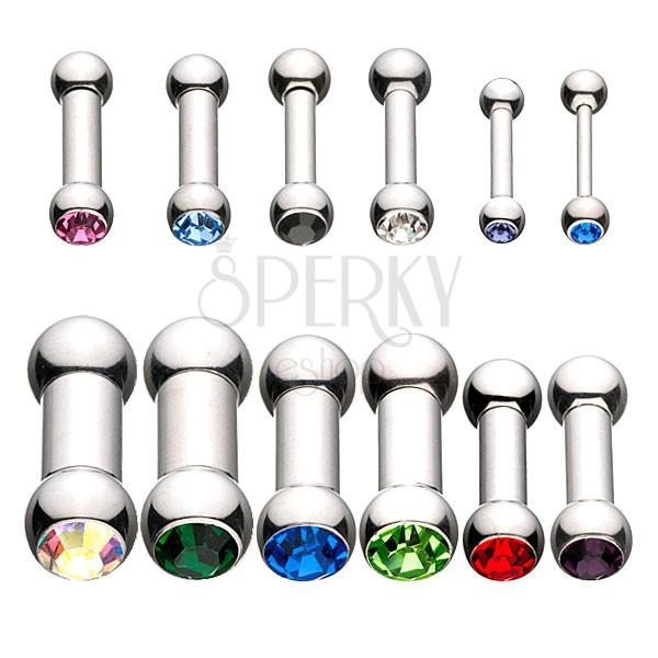 Férfi intim piercing - súlyzó színes cirkónia kövekkel