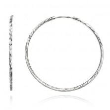 Ezüst fülbevaló - szögletes karika, bemart levelek, 50 mm
