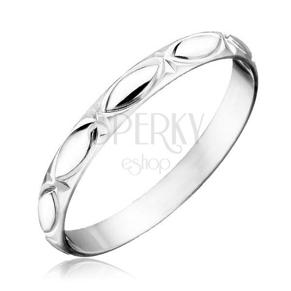 Sterling ezüst karikagyűrű - gravírozott szemek és sugarak