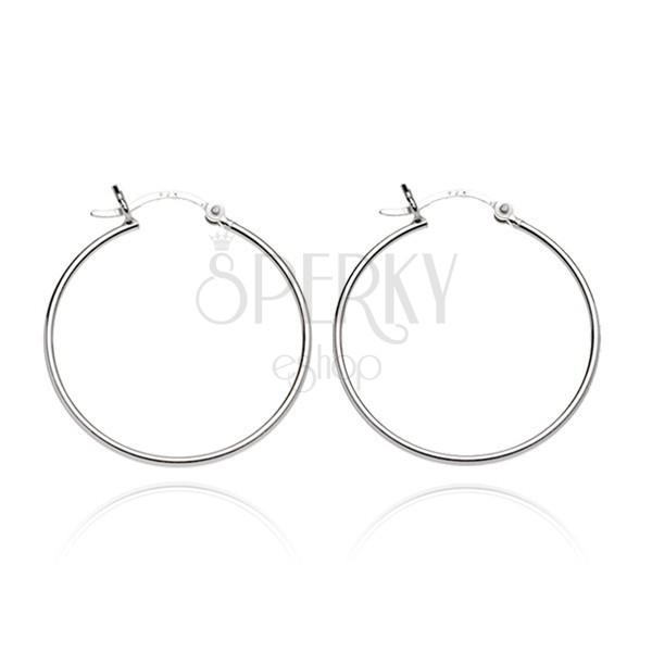 925 ezüst fülbevaló - sima karika és hullám kapocs, 15 mm