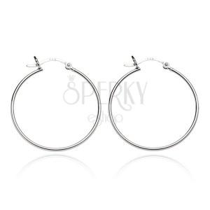 Sterling ezüst fülbevaló - fényes karika és hullám kapocs, 18 mm